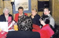 1999 05 Melb 3rd Conference Dinner 01 (L-R) ___, Judy GRANT, Sandra MARSHALL, Justin CORFIELD