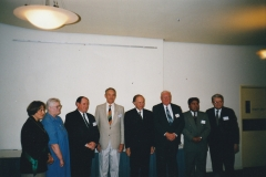 1999 05 Melb 3rd State Conference Official Party (L-R) Jenny HARKNESS - Conference Convenor, Di CHRISTENSEN - VAFHO President, Murray LOBLEY - LDS, Geoffrey DAVEY - GSV President, Sir James GOBBO - GSV Patron, Don GRANT - AAGRA, Napoleon TRUJILLO - FamilySearch, Melvin THATCHER - FamilySearch guest speaker from USA